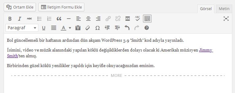 WP 3.9 Editör Yenilikleri